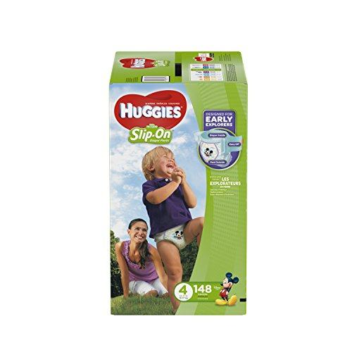 Huggies Little Movers Slip-On Diapers For Babies Over 22-37 lbs, Easy Pull On Style With Removal Tabs, Size 4 (148 Count)