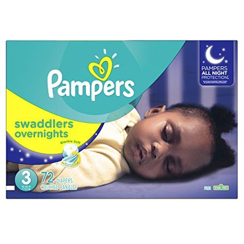 Pampers Swaddlers Overnights Disposable Diapers Size 3, 72 Count, SUPER