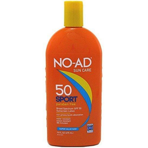 NO-AD Sport Sunscreen Lotion, SPF 50 16 oz-【以实际重量为准】