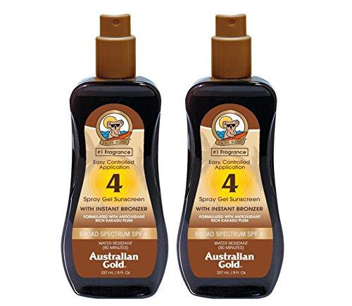Australian Gold SPF 4 Sunscreen Spray Gel with Instant Bronzer, 8 Ounce (2 Pack) (SPF 4)
